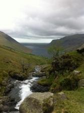 River running down between two peaks