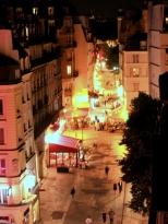 View into street below in evening
