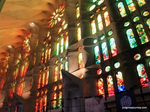 Stained glass on the inside left